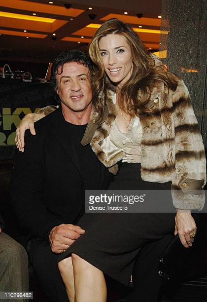 Sylvester Stallone and Jennifer Flavin during Rocky Balboa Las Vegas Premiere AfterParty at Aladdin/Planet Hollywood Hotel and Casino Resort at The...