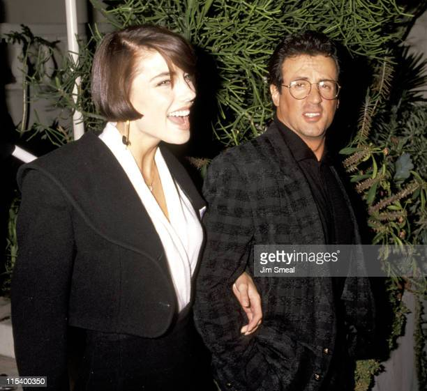Sylvester Stallone And Jennifer Flavin during Sylvester Stallone And Jennifer Flavin Sighting at Spago's Restaurant February 12 1991 at Spago's...