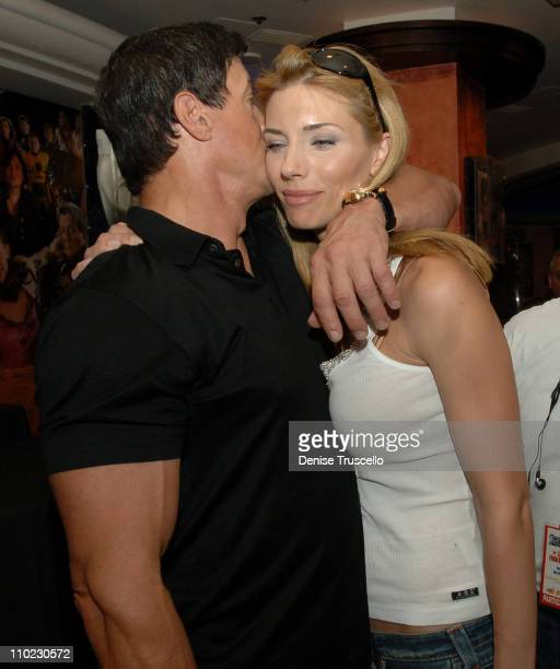 Sylvester Stallone and Jennifer Flavin during Sylvester Stallone Signs His Book 'Sly Moves' at Planet Hollywood in Las Vegas May 24 2005 at Planet...