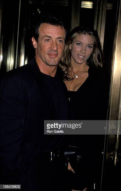 Sylvester Stallone And Jennifer Flavin during Sylvester Stallone Visits 'The Late Show With David Letterman' October 4 1993 at Ed Sullivan Theater in...