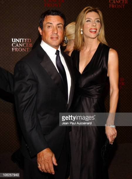 Sylvester Stallone and Jennifer Flavin during The Louis Vuitton United Cancer Front Gala Arrivals at Private Residence in Holmby Hills California...