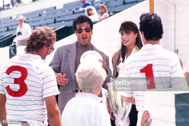 Sylvester Stallone and Jennifer Flavin has a funny encounter with members of the Santa Barbara Polo Club July 10 1989 Santa Barbara Polo Club Santa...
