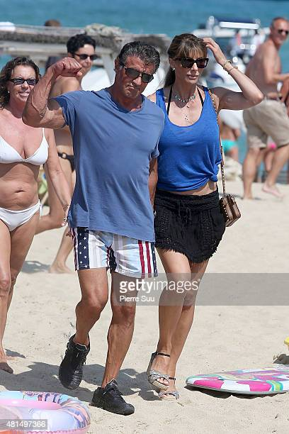 Sylvester Stallone and Jennifer Flavin sighted at club 55 on July 21 2015 in SaintTropez France