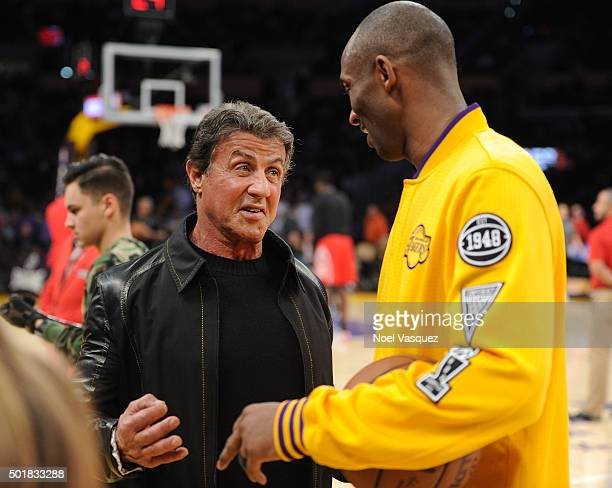 Sylvester Stallone and Kobe Bryant attend a basketball game between the Houston Rockets and the Los Angeles Lakers at Staples Center on December 17...