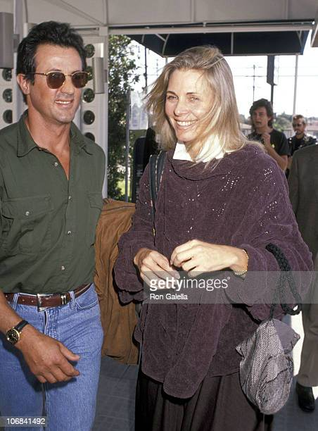 Sylvester Stallone and Lindsay Wagner during Sylvester Stallone and Lindsay Wagner Departing for New York City September 23 1991 at Los Angeles...