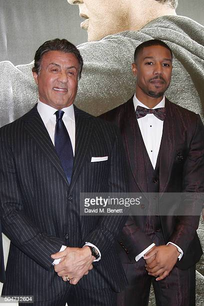 Sylvester Stallone and Michael B Jordan attend the European Premiere of Creed at Empire Leicester Square on January 12 2016 in London England