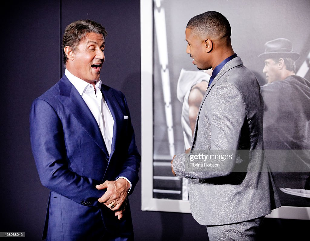 Sylvester Stallone and Michael B. Jordan attend the premiere of Warner Bros. Pictures' 'Creed' at Regency Village Theatre on November 19, 2015 in Westwood, California.