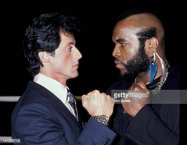 Sylvester Stallone and Mr T at the Press Conference for 'Rocky III' Los Angeles Sports Arena Los Angeles