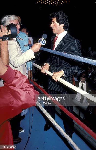 Sylvester Stallone And Newsreporter during Lee Canalito Vs Curtis Whitner Boxing Match at Tropicana Hotel Casino in Atlantic City New Jersey United...