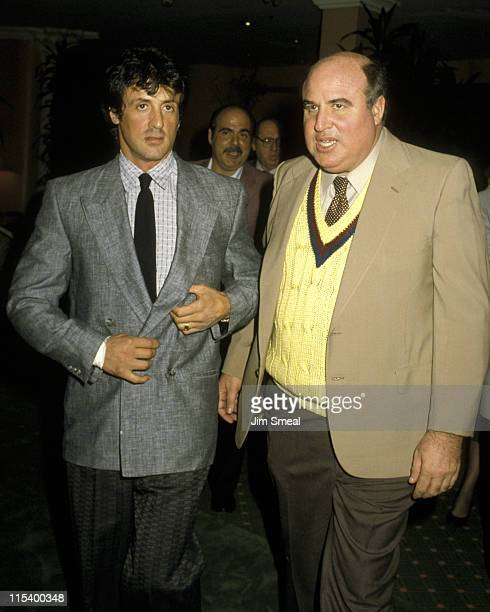 Sylvester Stallone and Paul Block during Sylvester Stallone and Paul Block Sighting at the Beverly Hills Hotel November 18 1986 at Beverly Hills...