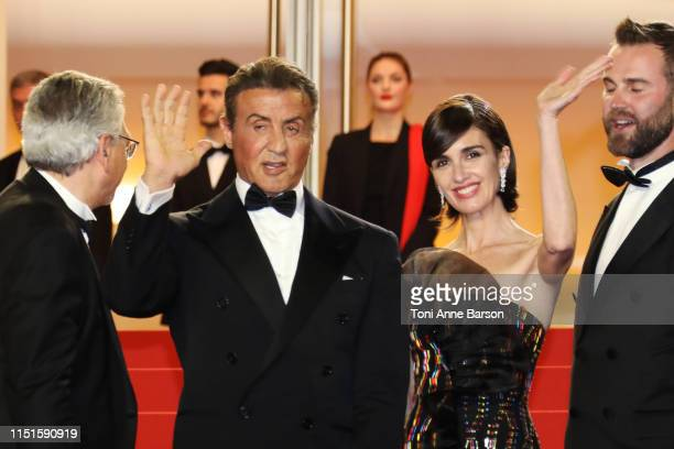 Sylvester Stallone and Paz Vega attend the screening of Rambo Last Blood during the 72nd annual Cannes Film Festival on May 24 2019 in Cannes France