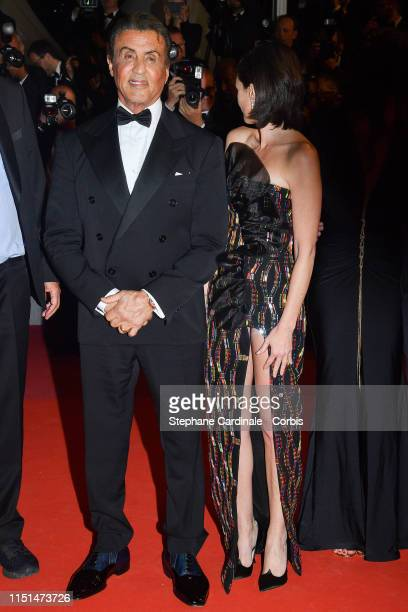 "Sylvester Stallone and Paz Vega attends the screening of ""Rambo - Last Blood"" during the 72nd annual Cannes Film Festival on May 24, 2019 in Cannes,..."