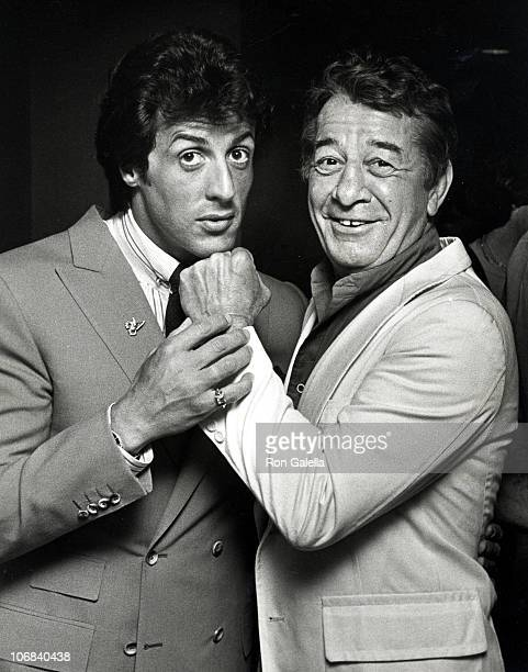 Sylvester Stallone and Rocky Graziano during Frank Stallone and Sylvester Stallone Sighting at the Lee Canalito vs Curtis Whitner Boxing Match July 6...