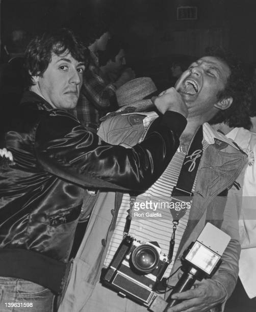 Sylvester Stallone and Ron Galella attend Frank Stallone Performance on February 14 1978 at the Roxy Theater in West Hollywood California