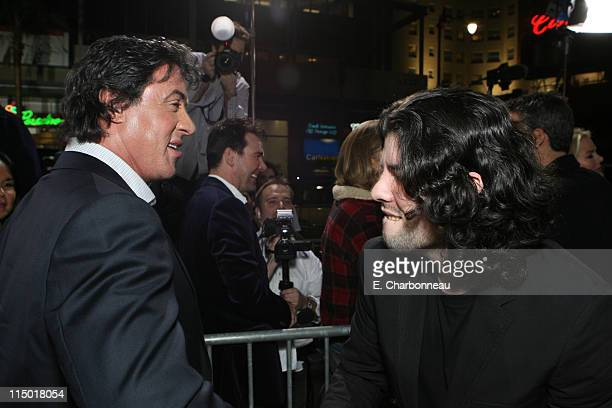 Sylvester Stallone and Sage Stallone during MGM Pictures Columbia Pictures and Revolution Studios present the World Premiere of 'Rocky Balboa' at...