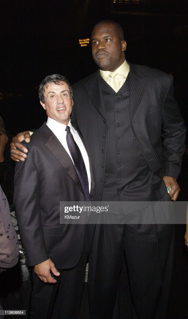 Sylvester Stallone and Shaquille O'Neal during The Andre Agassi Charitable Foundation's 7th 'Grand Slam for Children' Fundraiser - Backstage and Audience at The MGM Grand Hotel and Casino in Las Vegas, Nevada, United States.