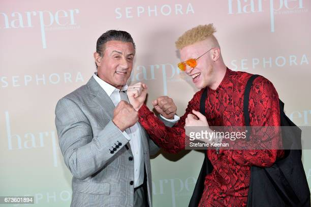 Sylvester Stallone and Shaun Ross attend harper x Harper's BAZAAR May Issue Event Hosted by The Stallone Sisters and Amanda Weiner Alagem at Mama...