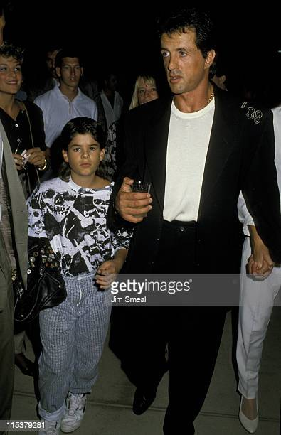 Sylvester Stallone and son Sage Stallone during Sylvester Stallone Sighting at Polo Match August 26 1988 at Equestrain Center in Los Angeles...