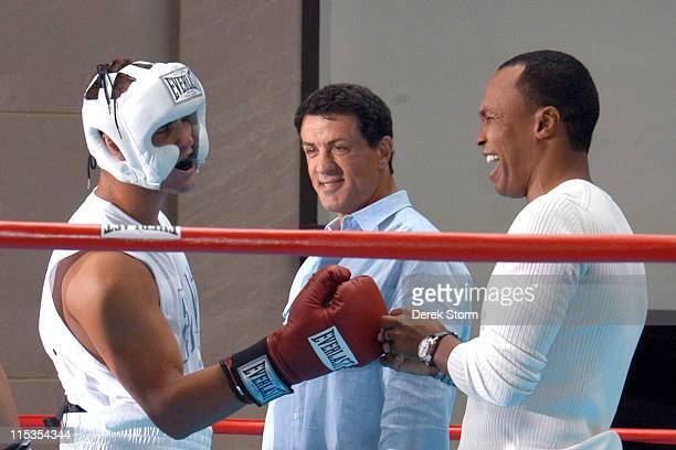 Sylvester Stallone and Sugar Ray Leonard with Wayne, boxer