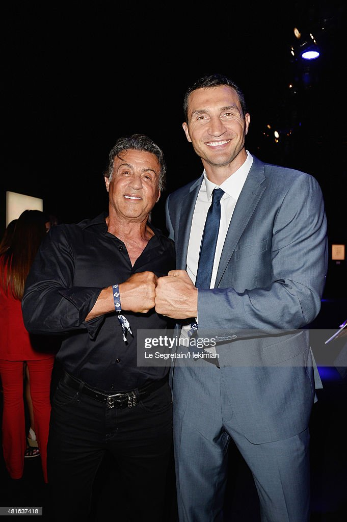 Sylvester Stallone and Vladimir Klitschko pose as they attend the Dinner and Auction during the Cocktail reception during The Leonardo DiCaprio Foundation 2nd Annual Saint-Tropez Gala at Domaine Bertaud Belieu on July 22, 2015 in Saint-Tropez, France.