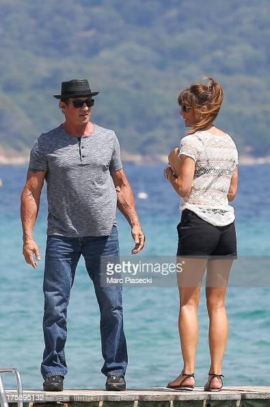 Sylvester Stallone and wife Jennifer Flavin are seen ...