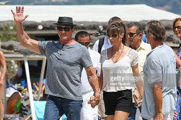 Sylvester Stallone and wife Jennifer Flavin are seen arriving at the 'Club 55' beach on August 4 2013 in SaintTropez France
