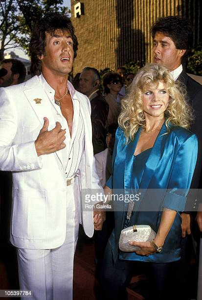 Sylvester Stallone And Wife Sasha Czack Stallone during Ghostbusters Los Angeles Premiere at Avco Theaters in Westwood California United States