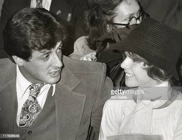 Sylvester Stallone and Wife Sasha Czack Stallone during Muhammad Ali Vs Ernie Shavers Boxing Match at Madison Square Garden in New York City New York...