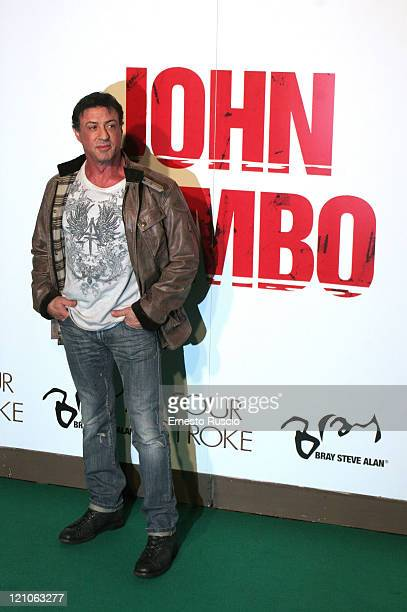 Sylvester Stallone arrives to the Italian premiere of John Rambo at Warner Cinema in Rome on Febuary 8 2008