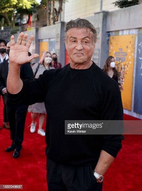 """Sylvester Stallone attends the Warner Bros. Premiere of """"The Suicide Squad"""" at Regency Village Theatre on August 02, 2021 in Los Angeles, California."""