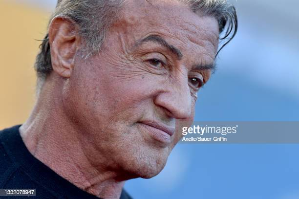 """Sylvester Stallone attends Warner Bros. Premiere of """"The Suicide Squad"""" at The Landmark Westwood on August 02, 2021 in Los Angeles, California."""
