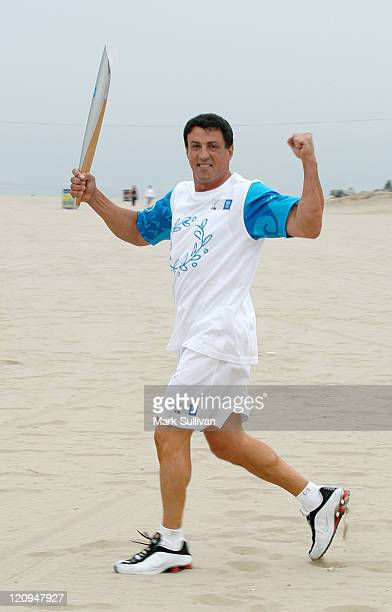 Sylvester Stallone during the 2004 Olympic Torch Relay