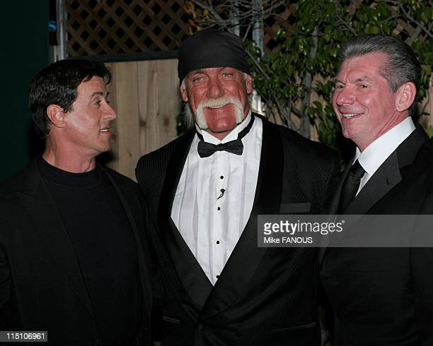 Sylvester Stallone Inducts Hulk Hogan Into WWE Hall of Fame in Los Angeles, United States on April 02, 2005 - Sylvester Stallone, Hulk Hogan and WWE...