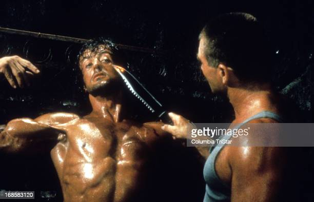 Sylvester Stallone is interrogated in a scene from the film 'Rambo First Blood Part II' 1985