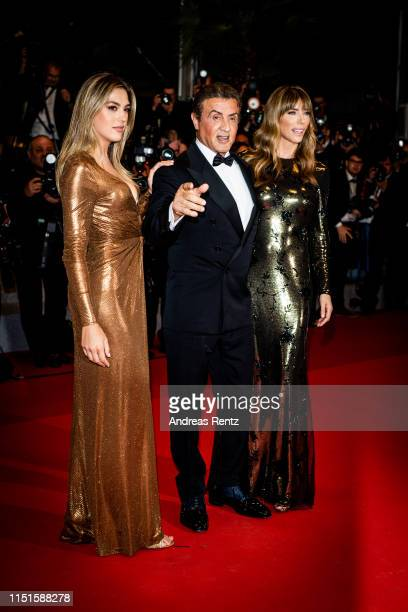 Sylvester Stallone Jennifer Flavin and Sistine Rose Stallone attend the screening of Rambo Last Blood during the 72nd annual Cannes Film Festival on...