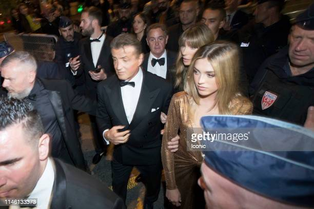 Sylvester Stallone Jennifer Flavin and Sistine Stallone are seen during the 72nd annual Cannes Film Festival on May 24 2019 in Cannes France