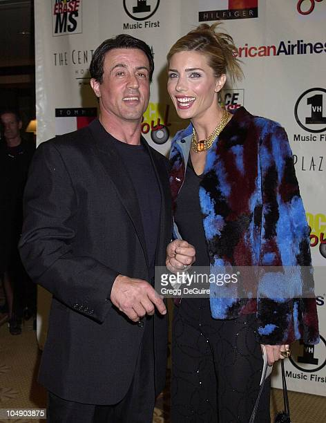 Sylvester Stallone Jennifer Flavin during The Rock Soul To Erase MS Gala at Century Plaza Hotel in Century City California United States