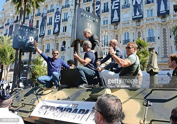 Sylvester Stallone Mel Gibson Harrison Ford Jason Statham and Dolph Lundgren attend a photocall for 'The Expendables 3' at the Carlton Hotel on May...