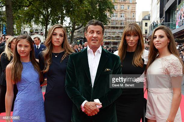 Sylvester Stallone poses with wife Jennifer Flavin and daughters Scarlet Sophia and Sistine attend the World Premiere of 'The Expendables 3' at Odeon...