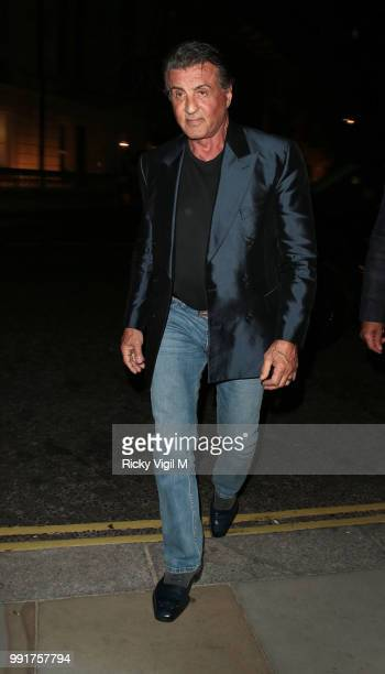 Sylvester Stallone seen arriving back at his hotel in London after a night out with daughters at Annabel's on July 4 2018 in London England