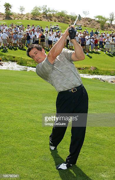 Sylvester Stallone wearing Izod during 5th Annual Michael Douglas And Friends Celebrity Golf Tournament Presented By Lexus and Izod To Benefit The...