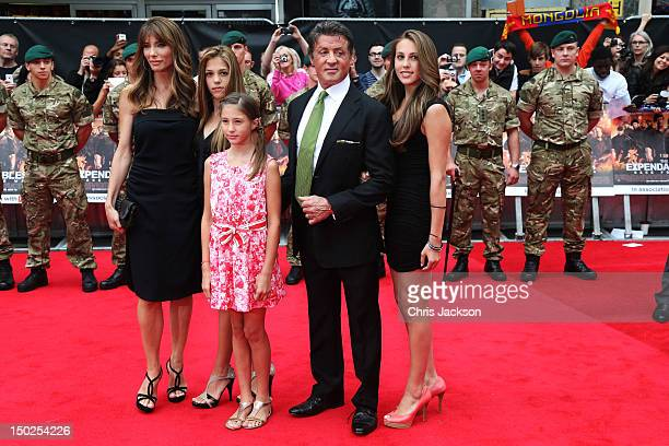 Sylvester Stallone wife Jennifer Flavin and daughters attend The Expendables 2 UK film premiere at Empire Leicester Square on August 13 2012 in...