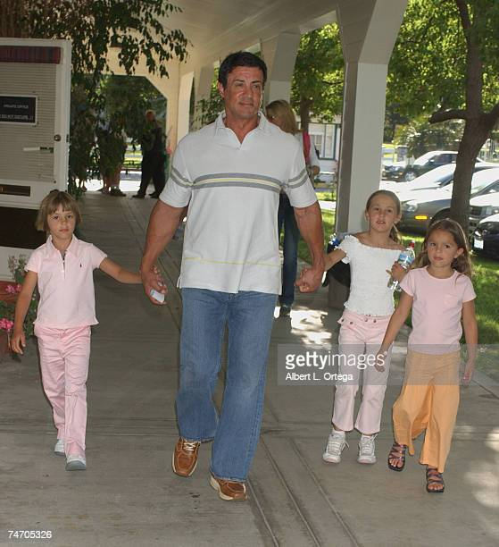 Sylvester Stallone with daughters Sophia and Sistine at the The Los Angeles Equestrian Center in Burbank California