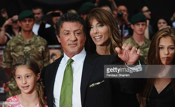 Sylvester Stallone with his wife Jennifer Flavin and daughter Sophia attend the UK film premiere of The Expendables 2 on August 13 2012 in London...