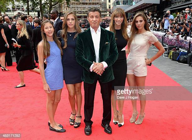Sylvester Stallone with his wife Jennifer Flavin and daughters as they attend 'The Expendables 3' World Premiere at the Odeon Leicester Square on...
