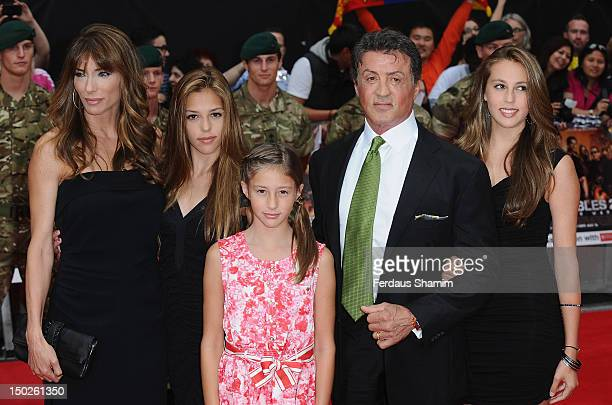 Sylvester Stallone with his wife Jennifer Flavin and daughters Sophia Rose Stallone Scarlet Rose Stallone and Sistine Rose Stallone attend the UK...