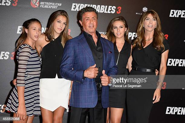 Sylvester Stallone with wife Jennifer Flavin and daughters attend The Expendables 3 Paris Premiere at Cinema UGC Normandie on August 7 2014 in Paris...