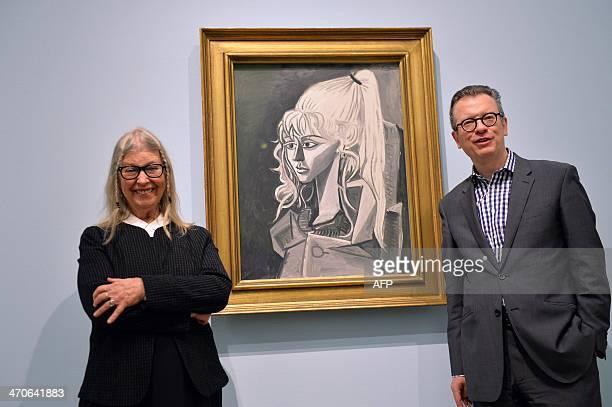 Sylvette David aka Lydia Corbett former model of Spanish artist Pablo Picasso and the director of the Kunsthalle Bremen Christoph Grunenberg pose in...