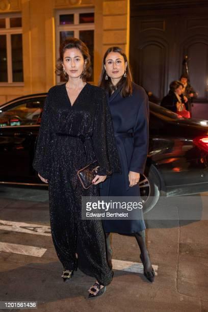 Sylvia and Julia Haghjoo arrive at Sidaction Gala Dinner 2020 At Pavillon Cambon on January 23, 2020 in Paris, France.