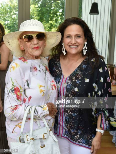 Sylvia Atkins and Melanie Roy attend the Hamptons Magazine London Jewelers Host A Luxury Shopping Afternoon at Topping Rose House on July 18 2018 in...